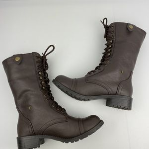 Soda Brown Combat Boots 8 tall or short cuffed